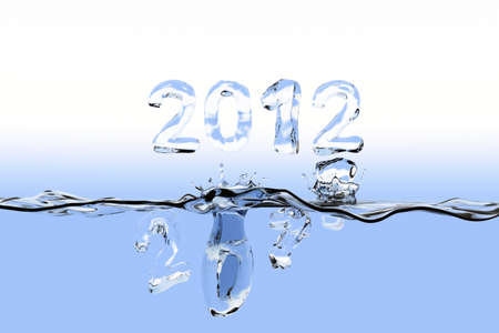 staying: Water surface with the numbers 2011 splashing into the water and 2012 staying over the surface. The numbers are also made of water. Stock Photo