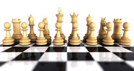 White wooden chess game pieces on a reflective chess board isolated over white. What photo