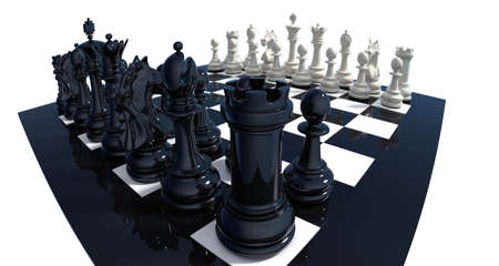 High detailed 3d-render of a chess set on reflective board isolated over white. Clipping path included. photo