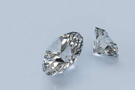 diffusion: 3D-render of two perfect cut diamonds with refraction and diffusion showing the fire of the gems.