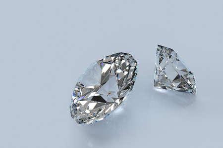 """diffusion: 3D-rendering di due diamanti taglio perfetto con la rifrazione e la diffusione che mostra il """"fuoco"""" delle gemme."""
