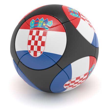 european championship: Soccer match ball of the 2012 European Championship with the flag of Croatia - clipping path included Stock Photo