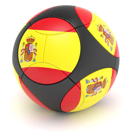 european championship: Soccer match ball of the 2012 European Championship with the flag of Spain - clipping path included
