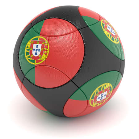 european championship: Soccer match ball of the 2012 European Championship with the flag of Portugal - clipping path included Stock Photo