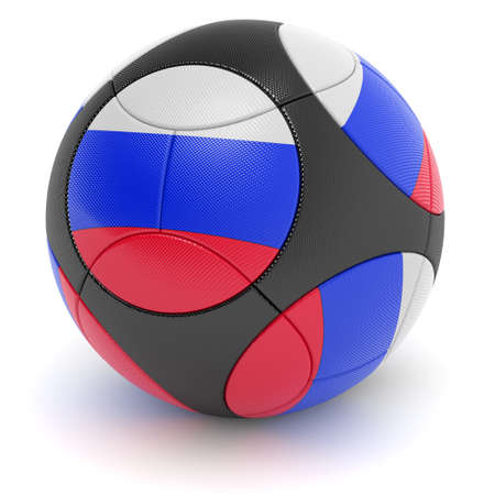 european championship: Soccer match ball of the 2012 European Championship with the flag of Russia - clipping path included