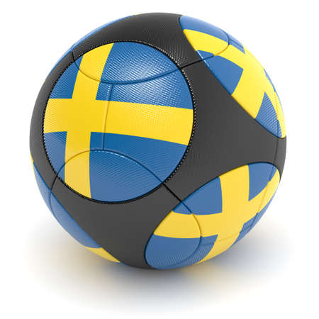european championship:   Soccer match ball of the 2012 European Championship with the flag of the Sweden - clipping path included