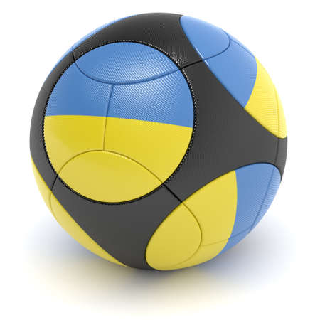 european championship: Soccer match ball of the 2012 European Championship with the flag of the Ukraine- clipping path included Stock Photo