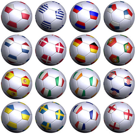 all european flags: 16 soccer balls with flags of all teams in the European Soccer Championship 2012. Hi-res 3D render on white with clipping path, detailed flag images, and subtle texture. 1 row per group. Stock Photo