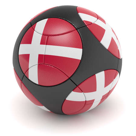 european championship: Soccer match ball of the 2012 European Championship with the flag of the Denmark - clipping path included