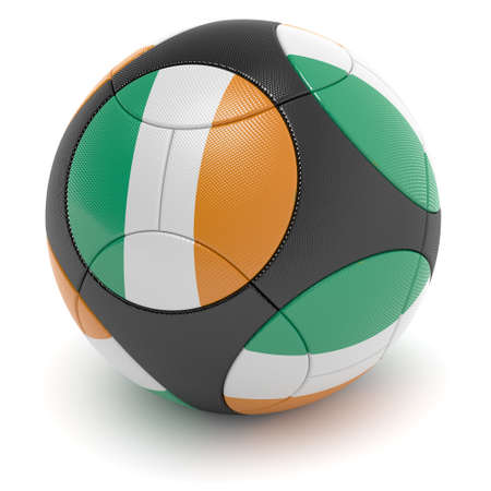 Soccer match ball of the 2012 European Championship with the flag of the Ireland - clipping path included Stock Photo - 11993441
