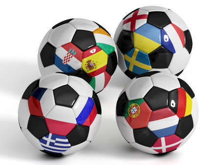 High Quality, hi-res 3D render of four soccer balls with the sixteen flags of the competing teams of the 2012 European Soccer Championship. Each ball represents one group.  photo