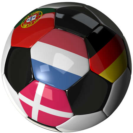 b ball: High Quality, hi-res 3D render of soccer ball with the four flags of the competing teams in group B of the 2012 European Soccer Championship. Stock Photo