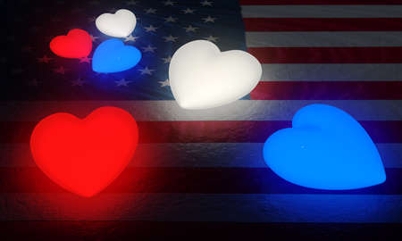 crackles: A large and a small set of red, white, and blue glowing hearts on a structured American flag