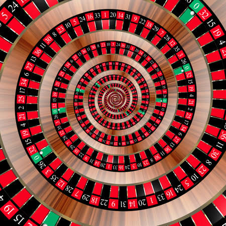 slot in: Spiral with roulette numbers symbolizing the bad luck of gambling  The ball in the zero slot