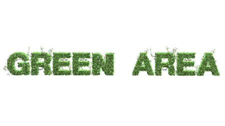 grass area: Green Area text from green ivy leaves on white background Stock Photo