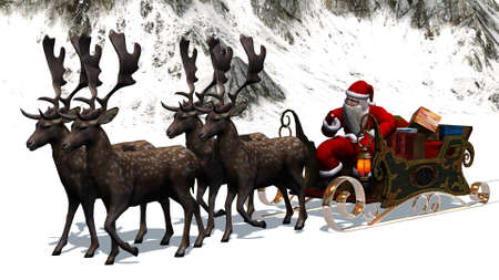 santa sleigh: Santa Claus with sleigh and reindeer separated on white background