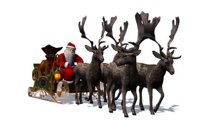 santa sleigh: Santa Claus with sleigh and reindeer separated on white BG Stock Photo