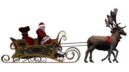 â      sledge: Santa Claus con el trineo y los renos separado sobre fondo blanco Foto de archivo