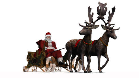 cartoon mountain: Santa Claus with sleigh and reindeer separated on white background