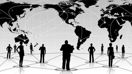 global connection of the people social business network Stock Photo