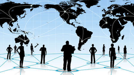 blue network: global connection of the people social business network Stock Photo