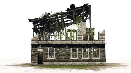 home destruction: Destroyed building - ruin - on white background