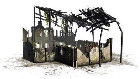 Destroyed building - ruin - on white background