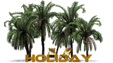 buzzer: Holiday lettering with palm trees - separated on white background Stock Photo