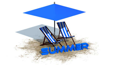 deckchair: summer lettering with deck chairs and umbrella - separated on white background Stock Photo