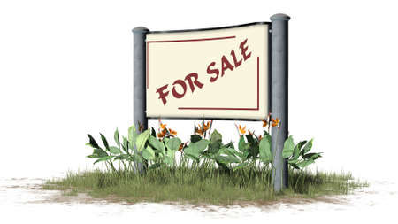 FOR SALE - Sign with text in grass between bushes 免版税图像