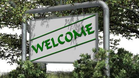 natur: Welcome - logo on billboardl - in der Natur auf weiem Hintergrund