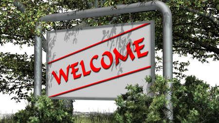 Hintergrund: Welcome - logo on billboardl - in der Natur auf weiem Hintergrund