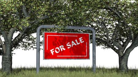 Hintergrund: for sale - logo on billboardl - in der Natur auf weiem Hintergrund Stock Photo