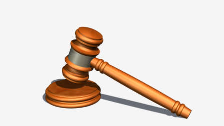 offenses: Judge gavel of wood - white on background separated