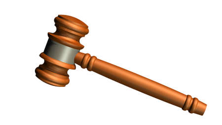 Judge gavel of wood - white on background separated