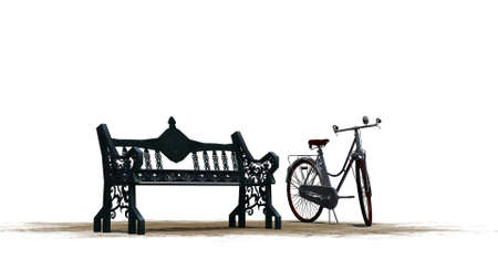 phonebox: bike beside park bench - separated on white background