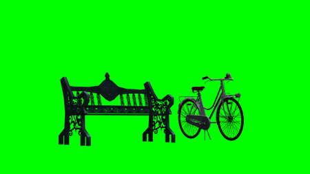 phonebox: bike beside park bench - green screen Stock Photo
