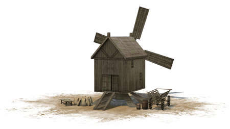 separated: wooden windmill - separated on white background Stock Photo