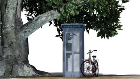 bike beside phone box - separated on white background Stock Photo