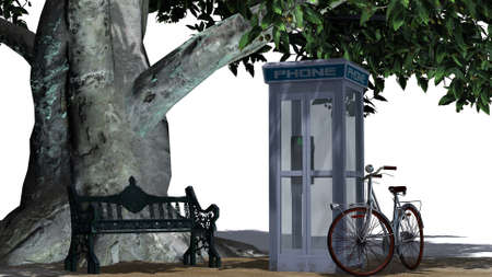 phonebox: bike beside park bench and tree - separated on white background