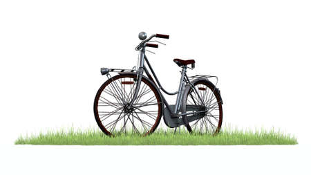 phonebox: bike in grass - separated on white background Stock Photo