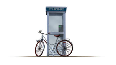 phonebox: bike beside phone box - separated on white background Stock Photo