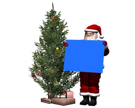 blue screen: Santa Claus with blank poster in blue screen