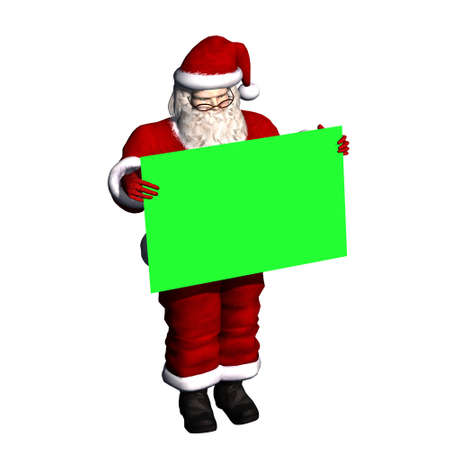 green screen: Santa Claus with blank poster in green screen