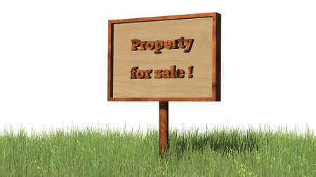 brokerage: Sign in grass Property for sale - separated on white BG