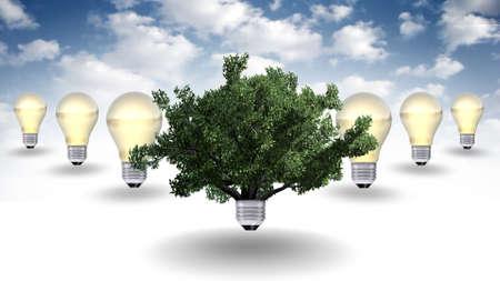 solution concept: renewable energy concept, green energy symbol