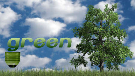 globally: green - text and tree - ecology concept
