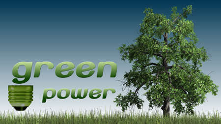 green power: green power text  and tree - ecology concept