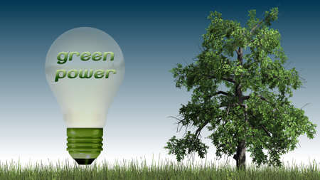 green power: green power text in light bulb and tree - ecology concept