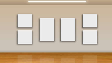unoccupied: blank frames on wall and wooden floor - interior gallery